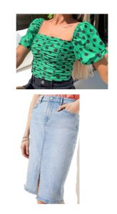 I would make sure this top is tucked and opt for a fun belt. Make sure the belt and the shoes you choose match.