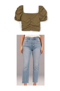 This look will pair well with a simple nude or brown sandal; something very casual.