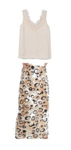 Tuck this cami, you can add a thick belt around the waist in a brown and a brown heel/sandal.