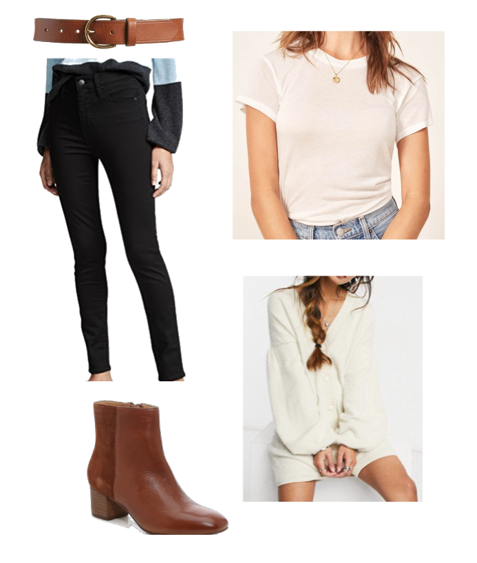 Double cuff black jeans to fall just above the top of the boot
